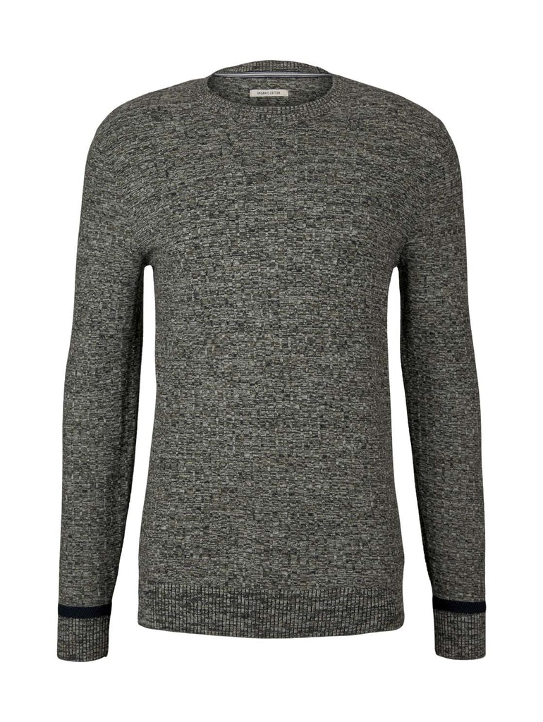mouline crew neck sweater, olive navy white mouline