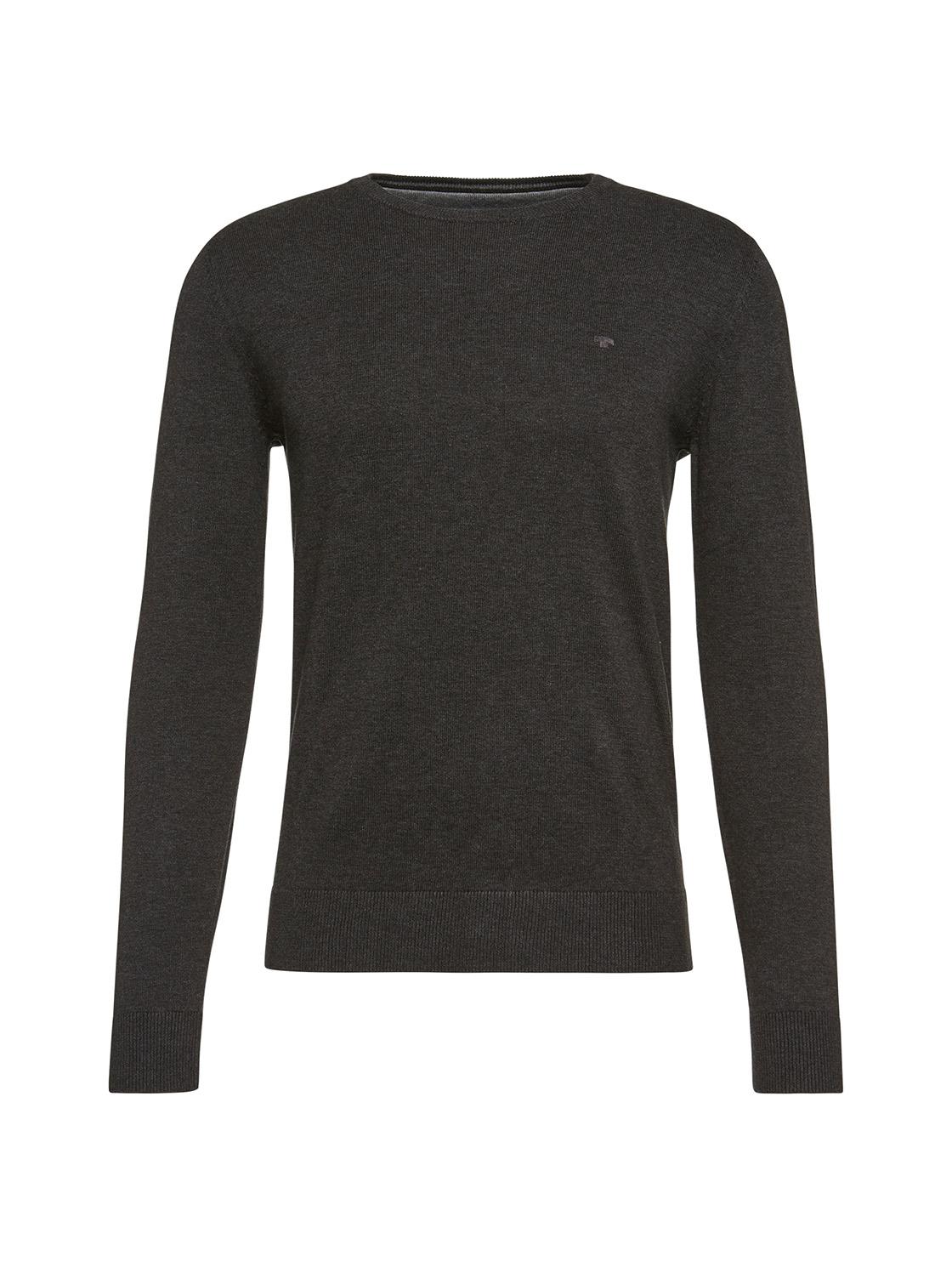 Pullover uni 1/1 crew-neck, black grey melange