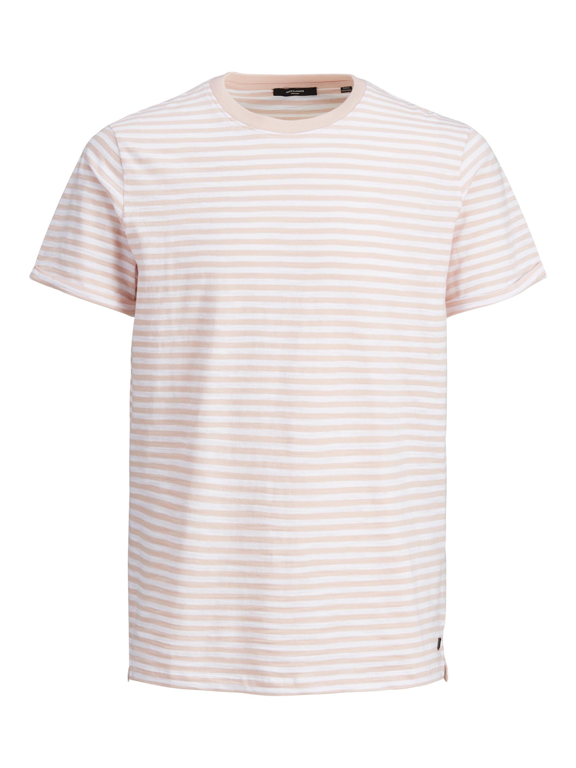 Gestreiftes T-Shirt mit Kontrastkragen