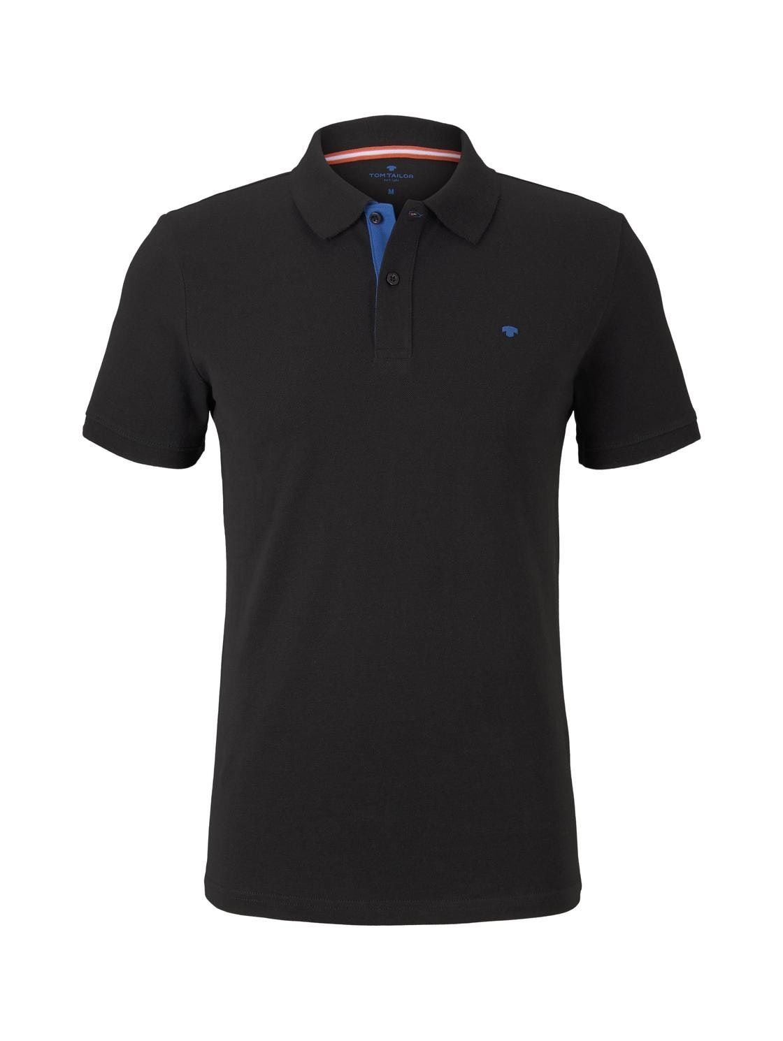 basic polo with contrast, Black