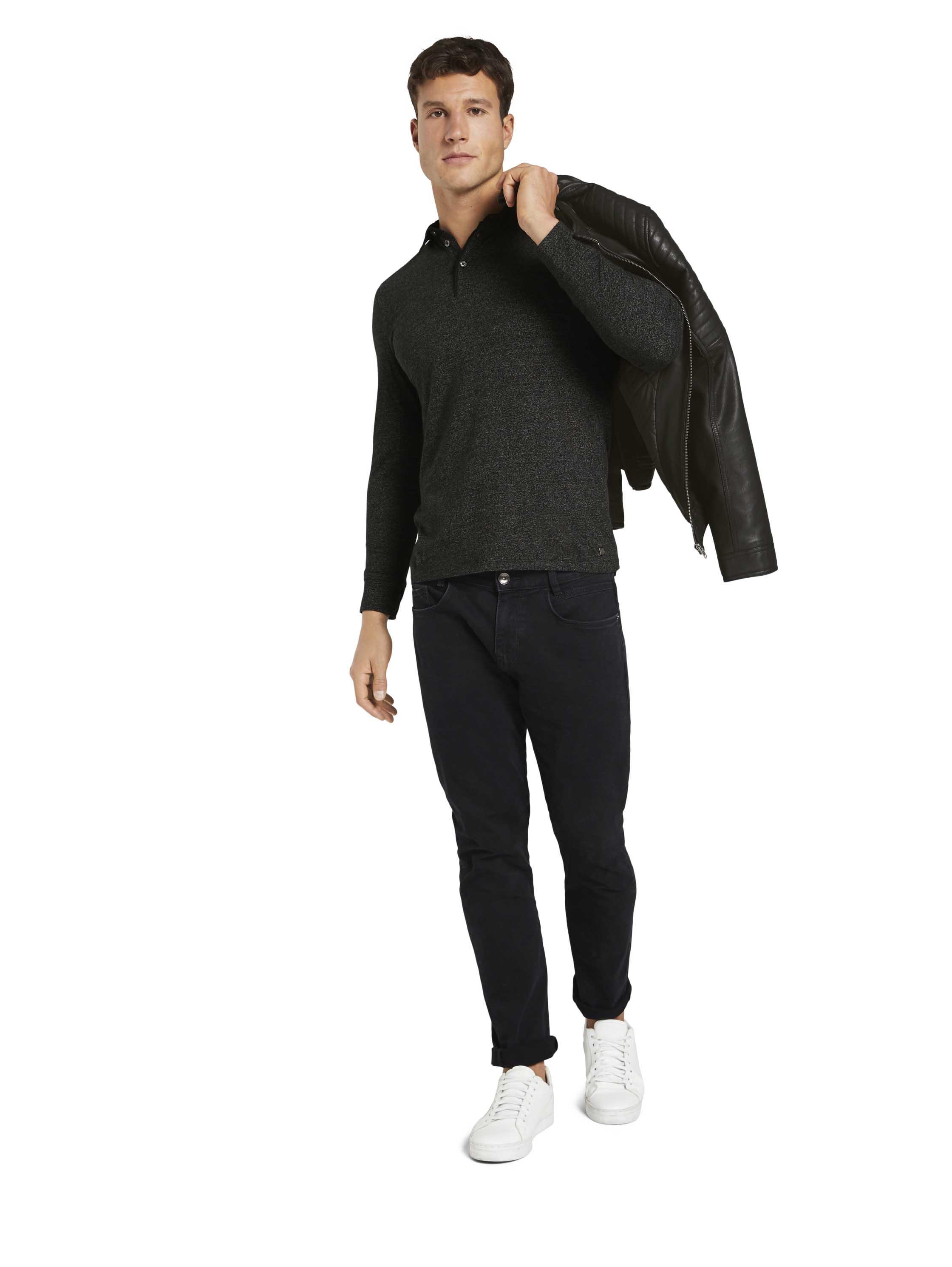 Gemustertes Langarm Poloshirt